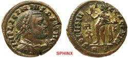 Ancient Coins - 584RF0Z) Licinius I (AD 308-324), AE3, 19.5 mm, 4.02 grms, Rome mint, Obverse: IMP LICINIVS P F AVG, Laureate, cuirassed bust right. Reverse: SOLI INVICTO COMITI, Sol standing left