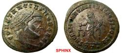 Ancient Coins - 281RK17) Constantius I. As Caesar, AD 293-305. Æ Follis (28 mm, 11.26 g). Ticinum mint, 3rd officina. Struck AD 300-303. Laureate head right / Moneta standing left, holding scales