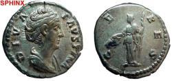 Ancient Coins - 839GM) FAUSTINA SENIOR, WIFE OF ANTONINUS PIUS, AR DENARIUS, ROME AFTER HER DEATH 140-1 (DIVA FAUSTINA),17.50 MM DIA, 3.34 GRAMS, REV. CERES, BMC 461, RSC 136, RIC 378, IN VF CONDI