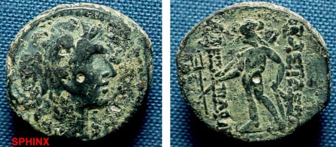 Ancient Coins - 730FG8) SYRIA, SELEUCID KINGDOM, ALEXANDER BALAS, 152-144 BC, AE 19 mm, 5.8 grms, OBV. HIS HEAD RIGHT IN LION SKIN, REV. APOLLO STANDING RIGHT HAND RESTING ON BOW, HIS RIGHT HOLDS