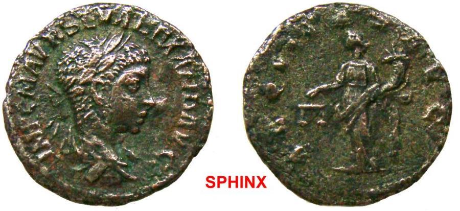 Ancient Coins - 956GL17) Severus Alexander, AD 222-235, AE FOURREE Denarius 3.31 grms, 18.5 mm,RIC 127, COH.9, VF BRONZE SHOWING THRU; SOLD AS IS NO RETURN
