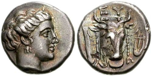 Ancient Coins - 11CLK) EUBOIA, Euboean League. Circa 304-290 BC. AR Drachm (16mm, 3.85 g, 12h). Head of Euboeia right / EU, head of bull right facing slightly left, fillets hanging from horns; lyr