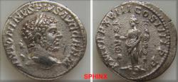 Ancient Coins - 274FR0Z) Caracalla. AD 198-217. AR Denarius (18.5 mm, 2.68 grms). Rome mint. Struck AD 215. Laureate head right / Fides standing left, holding two standards. RIC IV 267; RSC 316. V