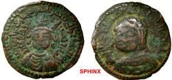 World Coins - 964EL7Z) ARTUQIDS OF MARDIN, NAJM AL-DIN ALPI, 547-572 AH/ 1152-1176 AD, AE DIRHAM, 32.5 MM, 12.63 GRMS, OB. DIADEMED MALE BUST FACING SLIGHTLY LEFT, WEARING TRIANGULAR JEWELL TIAR