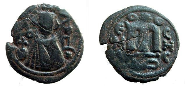 Ancient Coins - 102GPB) ARAB-BYZANTINE COINAGE, SYRIAN SERIES, DATED 680'S AH TO THE REFORM OF ABDEL-MALIK IN LATE 690'S; AE FALS IMPERIAL BUST TYPE, STRUCK AT HIMS (EMESA); HIMS IN ARABIC FINE
