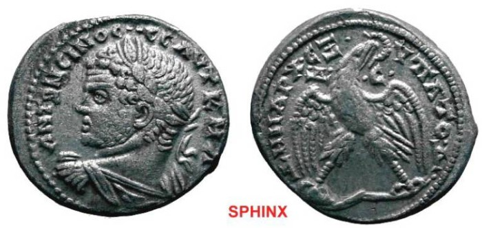 Ancient Coins - 292CRB7) CARACALLA, 198-217 AD, SYRO-PHOENICIAN COINAGE, AR TETRADRACHM MINTED AT ANTIOCH, 14.68 GRAMS, 24.5 X 27.5 MM DIAMETER, HEAD LEFT, PRIEUR # 228 (21) SECOND ISSUE MINTED 21