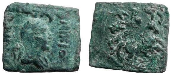 Ancient Coins - 438RK) INDO-GREEK KINGS OF BACTRIA, NICIAS, CIRCA 80 TO 60 BC, AE RECTANGULAR BILINGUAL HEMI-OBOL, 6.25 GRAMS, A RARE COIN