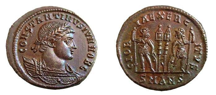 Ancient Coins - 1155EB) CONSTANTINE II AS Caesar.330-333 AD, AE 18 MM 2.72 grms, CENTENIONALIS OR NUMMUS, Antioch  mint on rev. exergue SMANS, RIC.87, IN XF+/ AS STRUCK  COND.