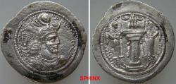 Ancient Coins - 360KG0Z) SASANIAN KINGS. Yazdgird (Yazdgard) I. AD 399-420. AR Drachm (27.5 mm, 4.18 grms). Witout any mint signature. Bust right, wearing mural crown with korymbos set on crescent