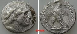 Ancient Coins - 421CFH18) PTOLEMAIC KINGS of EGYPT. Ptolemy III Euergetes. 246-222 BC. AR Tetradrachm (25.5 mm, 12.92 g). Arados mint. Circa   180/79 BC. Diademed head of Ptolemy I right