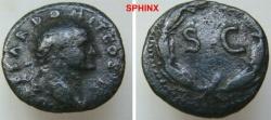 Ancient Coins - 734HM3) SYRIA, Seleucis and Pieria. Antioch. Domitian. As Caesar, under Vespasian,  AD 73-74 (cos II). AE Semis (21.06 mm, 5.18 g, 12h). Laureate head right / SC within laurel aVF