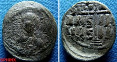 Ancient Coins - 55BM9) BYZANTINE EMPIRE. Anonymous. AE Follis. attributed to the reign of Romanus III Argyrus AD 1028-1034.class B.Mint of Constantinople.( 27.5 x 32 mm, 9.8 grms), Facing, nimbate