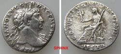 Ancient Coins - 225GG18) Trajan. AD 98-117. AR Denarius (17 mm, 3.13 g). Rome mint. Struck AD 111. Laureate bust right, slight drapery / Vesta seated left, holding palladium and scepter.