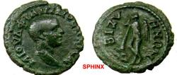 Ancient Coins - 258EG3) THRACE, Bizya. Philip II (244 – 249 A.D.) AE 20 mm, 3.32 grms, M IOVL FILIPPOC KAICAP His bare head right / BIZVHNWN,   Thanatos standing left, leaning on & extinguishing