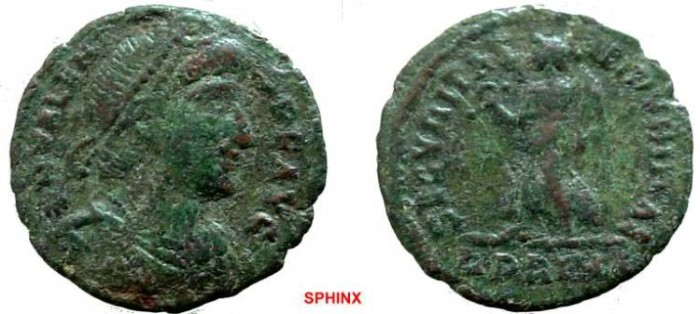 Ancient Coins - 1042RE) Valens circa 369 - 325 AD, Bronze AE 3 (18.5 mm) 2.02 grms. Copper NUMMUS, Obverse: Bust Right, Reverse: Victory Advancing Left, FINE COND.