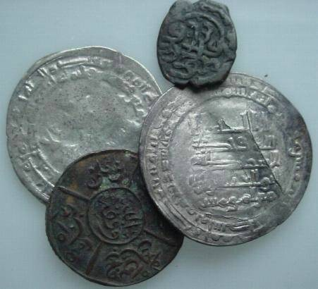 Ancient Coins - ISLBGN9) STUDY GROUP CONSISTING OF 4 ISLAMIC COINS; OBVIOUSLY WITH SOME IMPERFECTIONS BUT GENERALLY COLLECTABLE; SOLD AS IS NO RETURN; THIS GROUP CONSISTS OF : ONE MUKTADIR AR W/ F