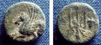 Ancient Coins - 145BLS) CORINTH, BEFORE 350BC, AE 12 MM, 2.0 GRAMS, PEGASOS FLYING LEFT WITH POINTED WING; REV. TRIDENT, HEAD P.403, SEAR 403 IN FINE COND.