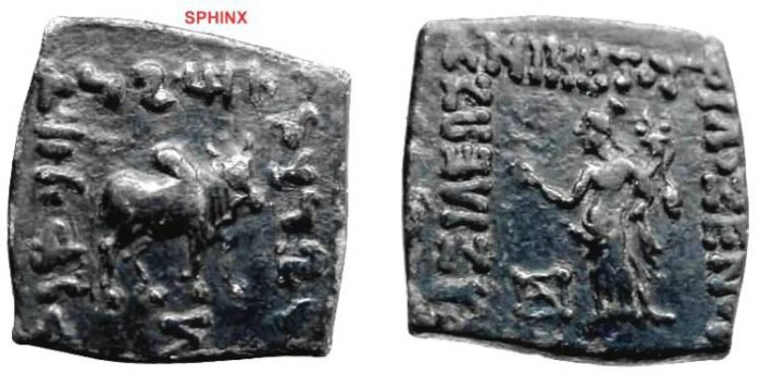 Ancient Coins - 427RK) KINGS of BAKTRIA. Philoxenos. Circa 100-95 BC. Æ Unit (8.84 g, 12h). Bilingual series. Tyche standing left, holding cornucopiae; monogram to lower left / Zebu bull standing