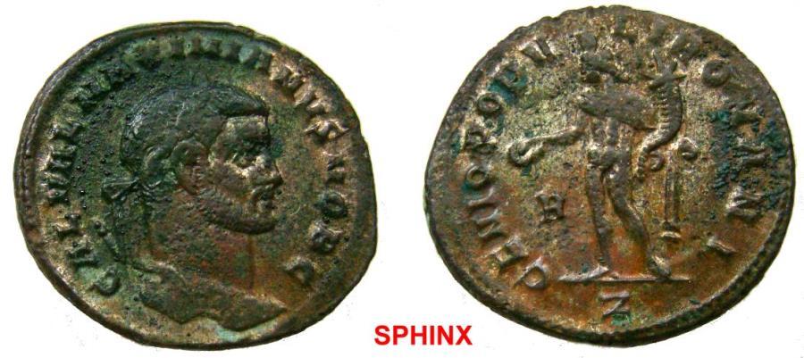 Ancient Coins - 314RK17) Galerius as Caesar (296-297 AD) AE Follis, 9.71 grms, 27 mm, Rome mint, Obverse: GAL VAL MAXIMIANVS NOB C, Laureate head right.Reverse: GENIO POPV-LI ROMANI, Genius naked