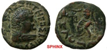 47EC17) BACTRIA, INDO-GREEK, HERMAEUS, CIRCA 40-1 BC, AE TETRADRACHM, 23 MM, 9.14 GRAMS, OBV. BUST OF KING RIGHT, REV ZEUS ENTHRONED LEFT, RIGHT ARM OUTSTRETCHED; KHAROSHTHI LEGEND