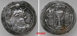 Ancient Coins - 362KG0Z) SASANIAN KINGS. Yazdgird (Yazdgard) I. AD 399-420. AR Drachm (30 mm, 4.33 grms). Witout any mint signature. Bust right, wearing mural crown with korymbos set on crescent /