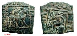 Ancient Coins - 519FC) INDO-SCYTHIANS. Spalahores, with Spalagdames. Circa 75-60 BC. AE Unit (22x21mm, 8.46 g, 12h). [C]PALUPIOC DIKLIOU [A]DELFOU TO[U] BACILEwC, king on horseback right; VF