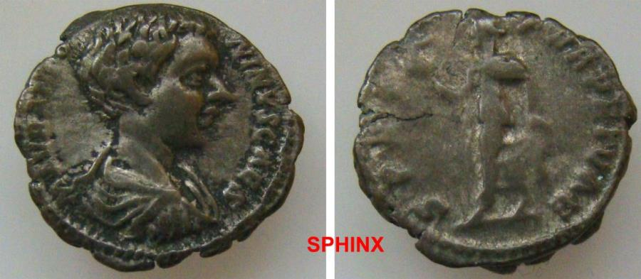 Ancient Coins - 983GL17) Caracalla. As Caesar, AD 196-198. AR Denarius (18.5 mm, 3.47 g). Rome mint. Struck AD 196-197. Bareheaded and draped bust right / Spes advancing left, holding flower VF