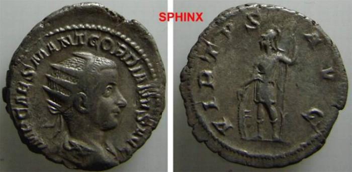 Ancient Coins - 111RG8) GORDIAN III, 238-244 AD, AR ANTONINIANUS, RSC- 381, RIC 6, IN NICE VF/XF CONDITION, GOOD METAL.