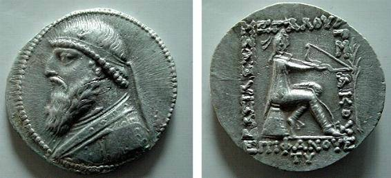 """Ancient Coins - 463) PARTHIA, MITHRADATES II, 123-88 BC, AR TETRADRACHM, 15.67 GRAMS, STRUCK AT SELEUCIA, PALM BRANCH IN RIGHT REV FIELD """" TV """" IN EXERGUE, SELLWOOD TYPE # 24.4, IN VF CONDITION."""