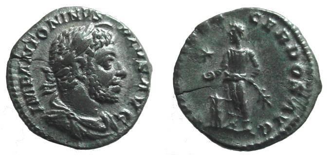 Ancient Coins - 819GM) ELAGABALUS, 218-222 AD, AR DENARIUS, ROME, 17.5 MM, 2.91 GRAMS, INVICTVS SACERDOS AVG, C-60, RIC 86, IN VF+ CONDITION. FLAN CRACK