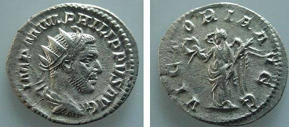 Ancient Coins - 04CL) PHILIP I, 244-249 AD, AR ANTONINIANUS, RSC-235, RIC 51, IN VF+ COND, AND EXCELLENT METAL.