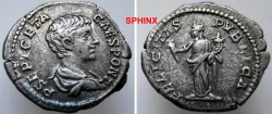 Ancient Coins - 15HM0) Geta. As Caesar, AD 198-209. AR Denarius (19mm, 3.01 g, 6h). Rome mint. Struck AD 200-205. Draped bust right / Felicitas standing facing, head left, holding caduceus VF
