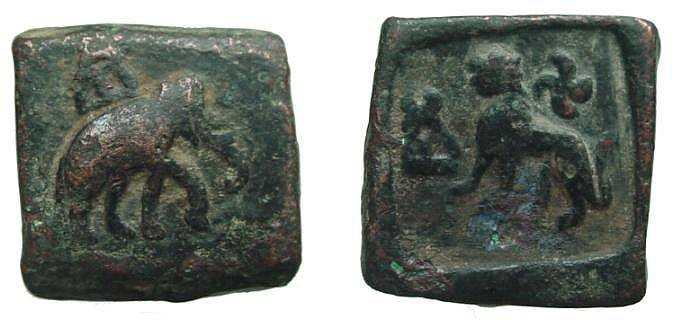 Ancient Coins - 1521FE) AUTONOMOUS LOCAL COINAGE OF PUSHKALAVATI, CIRCA 185 TO 168 BC, RECTANGULAR 11/2 KARSHAPANAS OF 120 RATTI, AE 24 X 24 MM, 12.08 GRAMS, OBV. ELEPHANT RIGHT W/ SYMBOL ABOVE, R