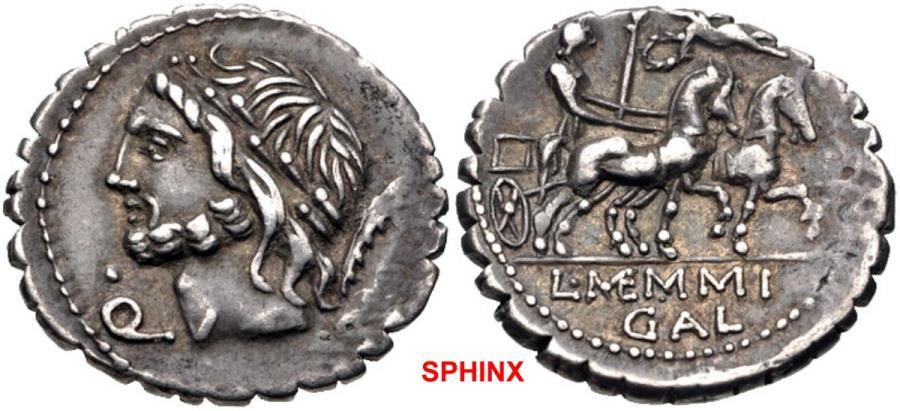 Ancient Coins - 438CEG9X) L. Memmius Galeria. 106 BC. AR Serrate Denarius (18.5mm, 3.85 g, 5h). Rome mint. Laureate head of Saturn left; •/Q below chin, harpa to right / Venus driving biga right,