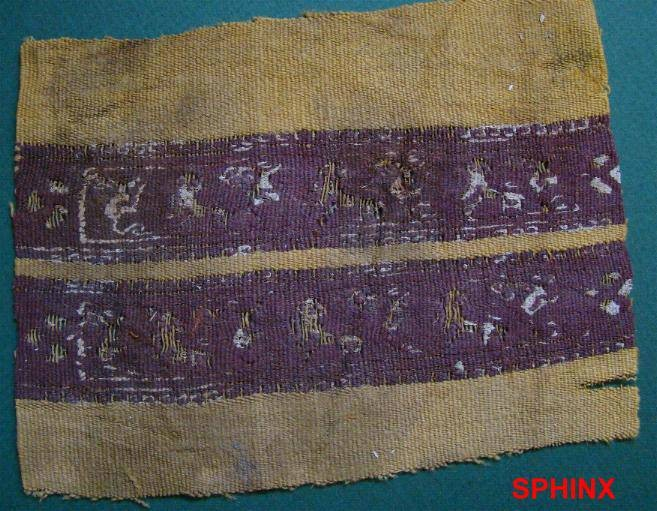 Ancient Coins - 30COP) PAIR OF PARALLEL COPTIC TEXTILE PANELS DECORATING SLEEVES OF TUNIC