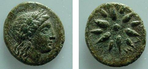 Ancient Coins - 522GREEK)GAMBRION,4TH-3RD CENT BC, AE15 MM,3.4 GRAMS,LAUREATE HEAD OF APOLLO RIGHT,REV 12 POINTS STAR,WITH AM BETWEEN RAYS OF STAR;HEAD PAGE 528;A RARE COIN IN NICE OLIVE GREEN