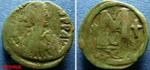 Ancient Coins - 46BM9) BYZANTINE EMPIRE, JUSTINIAN I, 527-565 AD, AE FOLLIS, 30 MM, 17.2 GRMS, D.N.IVSTINIANVS PP.AVG. DIADEMED AND CUIRASSED BUST RIGHT, REV. LARGE M BETWEEN STAR AND CROSS, FINE