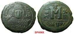 Ancient Coins - 337FB1) Maurice Tiberius. 582-602. AE Follis (28 mm, 11.58 g, 5h). Officina Є , Antioch mint,  Dated RY 14 (AD 595/6). Crowned facing bust, wearing consular robes, holding mappa an