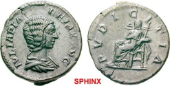 Ancient Coins - 53AK-GL17) Julia Domna, Augusta AD 193-217. Denarius (AR; 18mm; 3.20g; 7h) 211-217. IVLIA PIA FELIX AVG Bare and draped bust of Julia Domna to right; VERY RARE