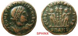 Ancient Coins - 773RF19) Constantine II as Caesar AE follis (2.49 grms, 18 mm). 330-335 AD, CONSTANTINVS IVN NOB C, Laureate, cuirassed bust right. / GLORIA EXERCITVS, Two soldiers, each holding a