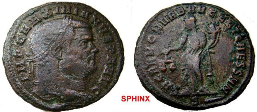 Ancient Coins - 300RK17) Maximian (300-301 AD) AE Follis, 9.77 grms, 28 mm, Rome mint; Obverse: IMP C MAXIMIANVS PF AVG, Laureate head right. Reverse: SACRA MON VRB AVGG ET CAESS N N, Moneta stand