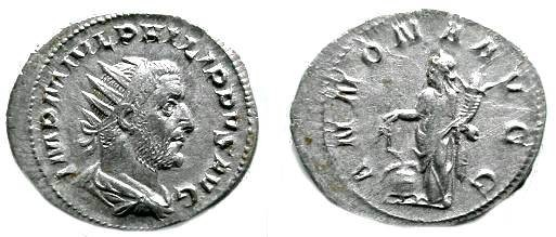 Ancient Coins - 06CL) PHILIP I, 244-249 AD, AR ANTONINIANUS, RSC-25, RIC 28(c), IN VF+ COND, AND EXCELLENT METAL.