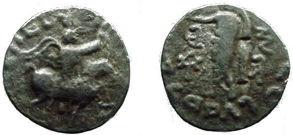 Ancient Coins - 403GREEK) BACTRIA, INDO-SCHYTHIAN, AZES I, CIRCA 5-25 AD, AR DRACHM, 2.07 GRAMS, OBV. KINGR. ON HORSEBACK; REV. ATHENA STANDING LEFT AND HOLDING NIKE; FINE.