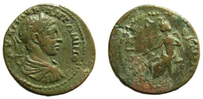 Ancient Coins - 33CK) UNATTRIBUTED ROMAN PROVINCIAL, ELAGABALUS, 218-222 AD, AE 22 MM, 7.73 GRMS, IN FINE+ COND.