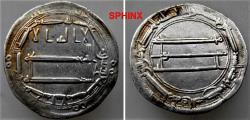 Ancient Coins - 55EKY1) THE ABBASID CALIPHATE, FIRST PERIOD : AL-RASHID, HARUN, 170-193 AH / 786-809 AD, AR DIRHAM STRUCK AT THE MINT OF MADINAT AL SALAM (PRESENT DAY BAGHDAD) IN THE YEAR 187 AH A