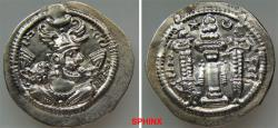 Ancient Coins - 828GL0Z) SASANIAN KINGS. Pērōz (Fīrūz) I. AD 457/9-484. AR Drachm (26 mm, 3.65 grms). RYW (Rēv-Ardaxšīr) mint. Bust right, wearing crown with two wings, frontal crescent, and korym