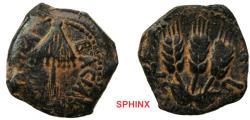 Ancient Coins - 429RK18) JUDAEA, Herodians. Agrippa I. 37-43 CE. Æ Prutah (17 mm, 3.05 g). Jerusalem mint. Dated RY 6 (41/2 CE). Umbrella-like canopy with fringes / Three grain ears; L-ς (date) fl