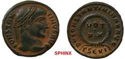Ancient Coins - 25CB17) Constantine I (324 AD) AE Follis, 2.49 grms, 19 mm, Thessalonica mint, Obverse: CONSTAN-TINVS AVG, Laureate head right. Reverse: DN CONSTANTINI MAX AVG, Legend surrounding