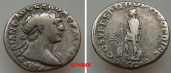 Ancient Coins - 85GC9X) Trajan. AD 98-117. AR Denarius (18 mm, 3.25 g). Rome mint. Struck circa AD 110. Laureate bust right, slight drapery / Dacian standing left, hands bound, shields, swords, VF