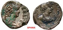 Ancient Coins - 253MB) EGYPT, Alexandria. Nero. AD 54-68. BI Tetradrachm (23mm, 12.96 g). Dated RY 12 (AD 65/6). Radiate bust right, wearing aegis / Draped bust of Alexandria right, VF